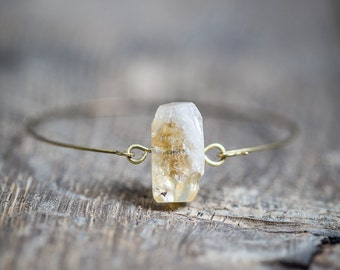 Thin Citrine Bangle stacking skinny bracelet with boho minimalist raw jewelry ooak