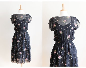 1970s Dress / Vintage Black Floral Chiffon Tiered Party Dress