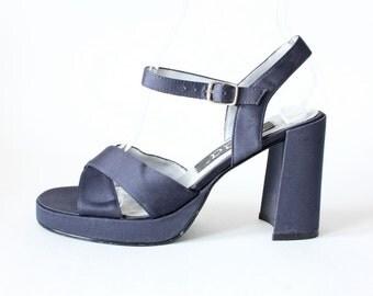 Vintage 1990s Navy Satin Chunky Block Heel Platform Sandals, size 7