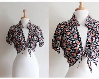 Vintage 1990s Black Floral Tie Front Crop Top
