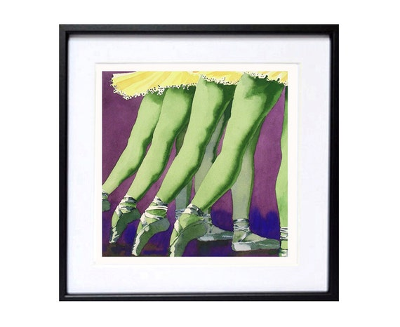 Ballet Dancer Art - Watercolor Painting Print - Mother's Day Abstract Art Intuitive Art Expressionist Art Ballet Legs Purple Green 12x12 in