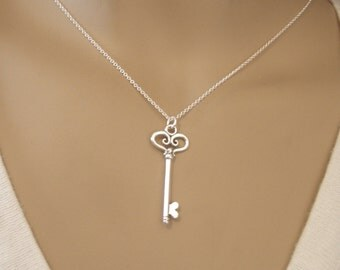 Silver key necklace - Good luck charm - Graduation gift - Key to Success - Key to my Heart - Sterling silver key necklace