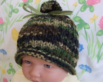 Camo Camouflage Baby Hat cap Beanie 0-12M READY TO SHIP