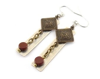 Two Metal With Red Earrings,  Hammered Earrings, Czech Glass Earrings, Wire Earrings, Lightweight Earrings, Silver Brass, LongEarrings, E095