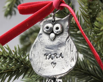 Cute Owl Christmas Ornament Personalized Hand Stamped in Pewter