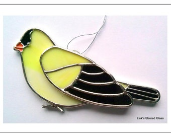 Goldfinch Stained Glass bird sun catcher Window hanging