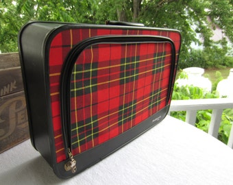 Vintage Tartan Plaid Suitcase Fleetwood 500 Valise