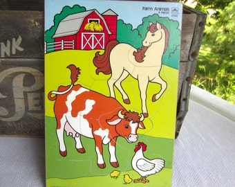 Vintage 1987 Farm Animals Wood Tray Frame Puzzle