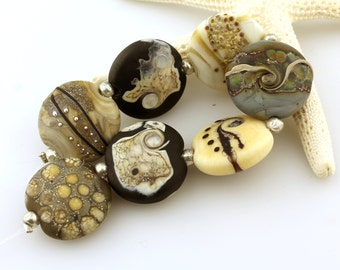 Lampwork Beads Set  Lentil, Organic, Etched Matte Ivory, Gray, Brown, Black, Silver  'Summer Neutrals'