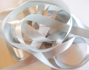 Vintage 1940's French Satin Ribbon 5/8 inch -Milliners Stock- Gorgeous Dusty Blue