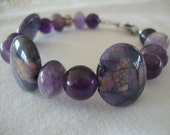 FREE SHIPPING Amethyst and Purple Stone Sterling Silver Bracelet