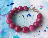 FREE SHIPPING Deep Raspberry Pink Faceted Agate and Sterling Silver Bracelet