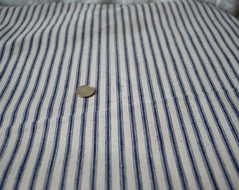 Vintage Blue and Off White Cotton Ticking Fabric Off the Bolt