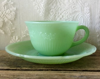 Vintage Fire King Jadeite Alice Cup and Saucer FireKing Ribbed Flowers