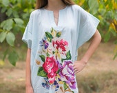 Sunshine Kaftan Style in One Long Flower pattern in Light Blue Color | Bohemian Caftan, Perfect for Loungewear, Beach Cover up