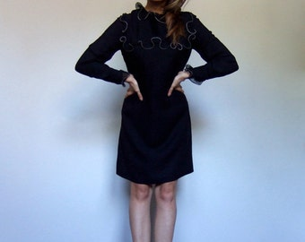 Black Ruffle Dress Long Sleeve Vintage Office Dress Knee Length Fall Dress - Large L