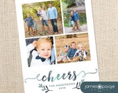 4 Photo Fancy Watercolor Cheers Holiday Card (4x6, 5x7 and 6x7.5)  Digital Design