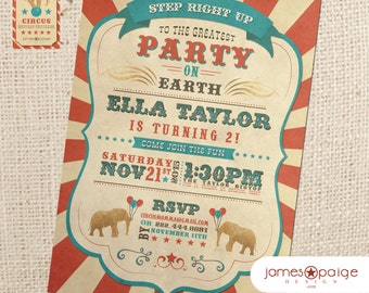 Vintage Circus Party Invitation (5x7) Vertical Digital Design