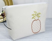 Pineapple Makeup Bag - Small cosmetic pouch- small makeup bag - Zipper pouch - embroidered pineapple bag - Summer clutch - pineapple bag