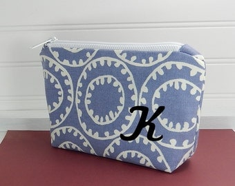 Personalized Makeup Bag with Initial - Bridesmaid gift - Small makeup bag - monogram bag - blue zipper pouch