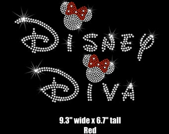 """9.3"""" Minnie Mouse Disney Diva iron on rhinestone transfer for bling shirt or tank"""