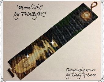 BP-NAT-001-2015-124 - Moonlight - Peyote Pattern, Peyote Bracelet pattern, beadweaving pattern, peyote stitch, bracelet pattern