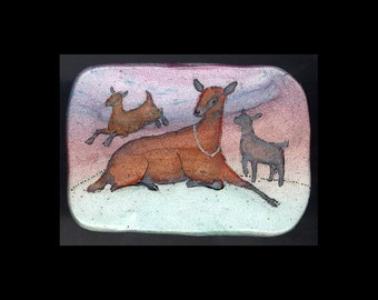 Dairy Goat Jewelry: Momma Ober and Kids Pin or Pendant. Original Ink Drawing on Polymer Clay. Copper Lavender Light Green Black 4124