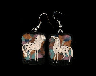 Horse Jewelry: Leopard Appaloosa on Patchwork Earrings. Bas Relief Polymer Clay. Many Colors, White and Black 3994