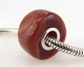 Reserved for Deborah - Lake Superior agate Euro style large hole bead charm fits all popular style bracelets, made with sterling silver 0170