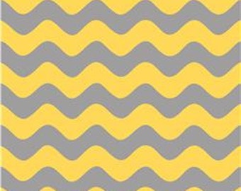 1 yard, Riley Blake Wave Basics Yellow & Gray