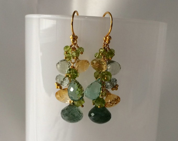 Autumn Inspired Gemstone Earrings in Gold Vermeil with Moss Aquamarine, Citrine, Peridot, Green Amethyst, Mystic Green Quartz, Teal Quartz