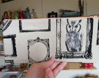 Vintage framed owl clutch