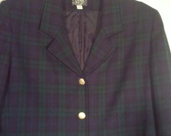 SALE 70s plaid jacket cropped blazer suit 1970s tartan KGR size 12 wool 38 40