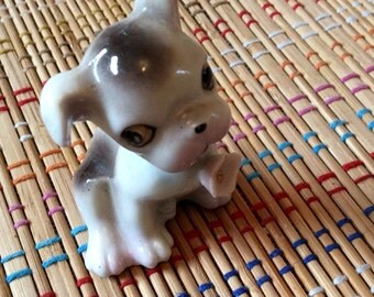 Pouty Porcelain Pup:  Vintage Figurine, R