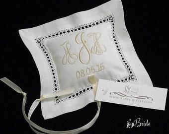 Small Irish Linen Ring Bearer Pillow, Personalized Ring Pillow, Ring Cushion, Wedding Ring Pillow, Style 2345