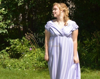 Jane Austen Regency Ball Round Gown Dress with train in Lavender Purple stripe