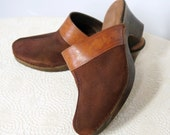 1980's Clogs Suede and Leather Brown Clogs Size 8 Shoes Tooled Leather Italian Clogs
