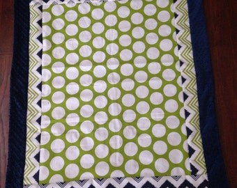 Baby blanket quilt Lime and navy chevron navy minky dot boy