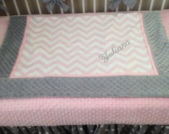 Baby blanket quilt girl pink chevron gray minky dot
