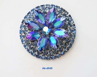 FREE SHIP Exciting Blues Round and Marquise Rhinestones Brooch (4-4949)
