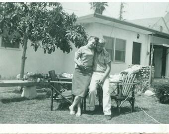 1950s Love Husband Wife Smoking Cigarette Outside Hug 50s Vintage Black and White Photo Photograph