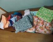 one dozen fabrics pieces remnants variety sizes