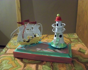 painted over copper musical lighthouse and ship nautical piece