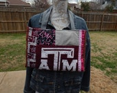 ATM Tote,  Aggie Bag,Team Spirit Tote, Mixed Fabric Patchwork Bag,  Recycled Bag, Eco-Friendly, Handmade Tote Bag, Wine, Pink and Gray