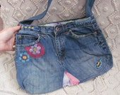 Blue Jean Denim Purse Handbag Tote - Recycled from Jeans