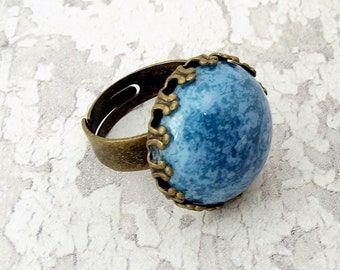Blue glass ring, glass ring, adjustable ring, bronze ring