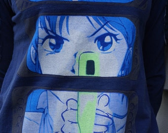 Avant Garde Fashion-Cyber Dog London L/S Anime Top with Techno Stitched Arm Pads- Size Medium