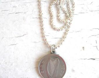 25th Birth Day 1992 SILVER IRISH Coin Birth Year Necklace-5 Pence Ireland Necklace