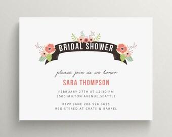 floral banner bridal shower invitation set // couples shower // engagement party // vintage // feminine // flower // baby shower invitation