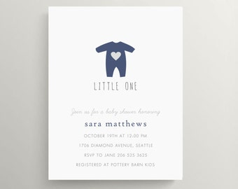 baby pajamas baby shower invitation set // baby announcement // first birthday // onesie // heart // gender neutral // sip and see // note